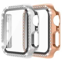 Funda de diamante para Apple Watch, funda protectora completa de cristal ostentoso de 44mm, 42mm, 40mm y 38mm para parachoques de PC para series 6 se 5 4 3
