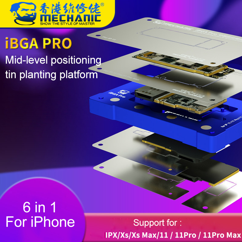 Mechanic 6 in 1 Positioning BGA Reballing Stencil Platform For iPhone X XS 11 Pro Max Mid-level Motherboard Tin-Planting Fixture