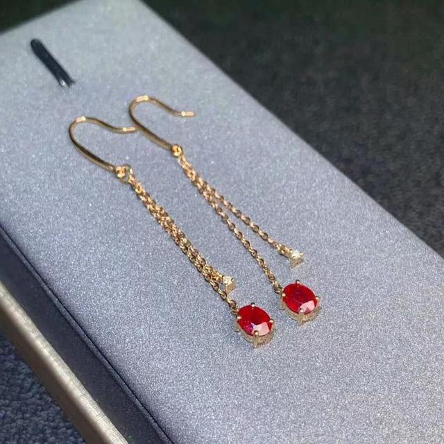 shilovem 18k rose gold real Natural ruby Gemstone drop earrings plant women fine new Christmas Gift 4*5mm  de0405881h 3