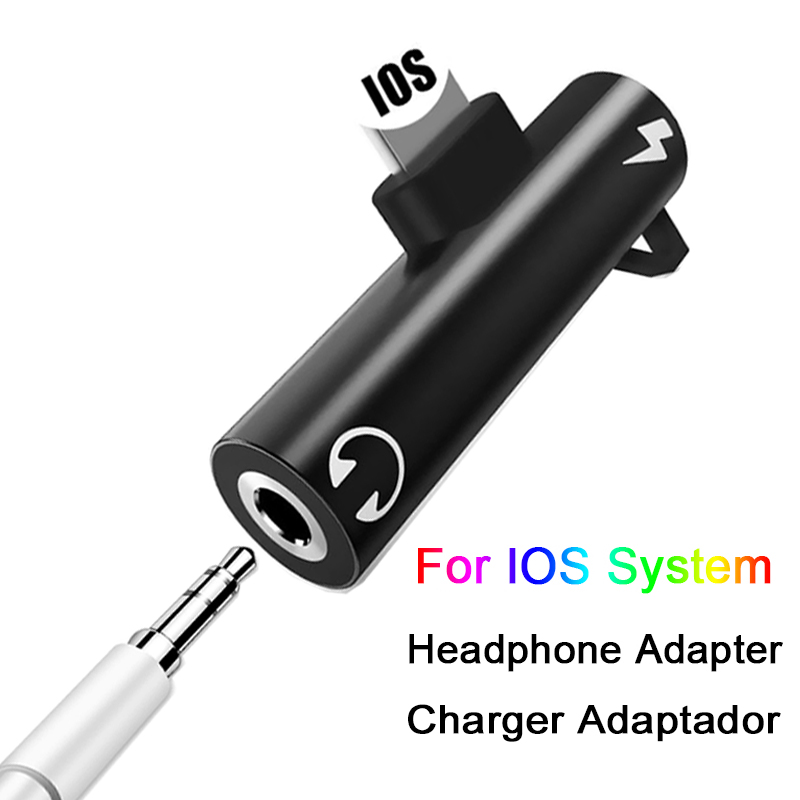 Earphone Audio Adapter Charging Cable Mobile Phone Aux Dual Jack For iPhone 7 8 plus X XS Xr For Lighting 3 5mm 2 in 1 Splitter in Phone Adapters Converters from Cellphones Telecommunications