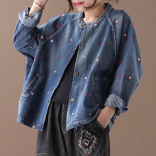 Embroidery Flower Women's Denim Jacket Short Cropped Blue Jacket  Long Sleeves Jeans Jackets Plus Size Female Clothes aa191s30 black long sleeves rose embroidery pattern cropped top