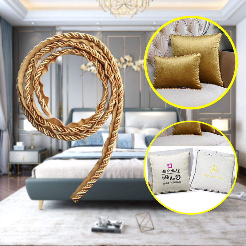12.5m 7mm Gold Thick Rope Piping Lip Cord Trim Pillow Cushion Trim Upholstery Edging Trim Sewing Supplies Rectangle Pillow Cover