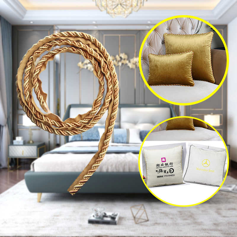 12m 7mm gold thick rope piping lip cord trim pillow cushion trim upholstery edging trim sewing supplies rectangle pillow cover