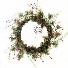Christmas Wreath Door Decor Artificial Foam Berry Wreath With Natural Pine Cone Pendant Wall Decor Wreath Fake Flower Garland