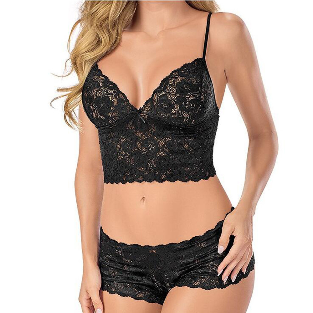 Sexy Bra Panty Set Women Lingerie Corset Lace Flowers Push Up Solid Top Bra+Briefs Underwear Fashion Polyester Seamless Soft Set