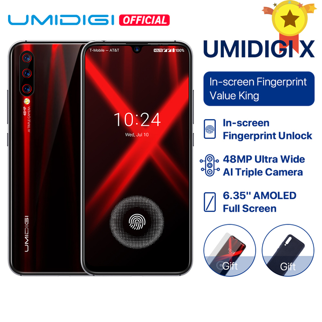 "UMIDIGI X Global Version 6.35 ""AMOLED 48MP Triple Rear Camera 128GB NFC Helio P60 4150mAh Smartphone"