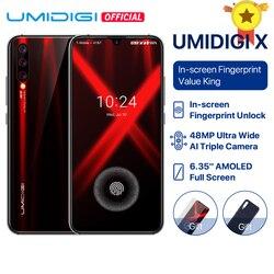 Перейти на Алиэкспресс и купить umidigi x in-screen fingerprint global version 6.35дюйм. amoled 48mp triple rear camera 128gb nfc helio p60 4150mah smartphone