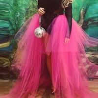 Women Skirts Halloween Style Tulle Skirt Custom made 2020 Faldas Hot Pink Skirts Women Maxi Multi Layers Tiered Saias