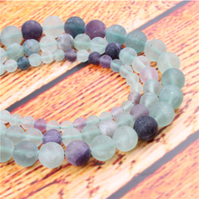 Frosted Fluorite Natural Stone Bead Round Loose Spaced Beads 15 Inch Strand 4/6/8/10/12mm For Jewelry Making DIY Bracelet