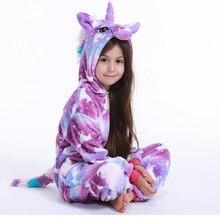 Pajamas Sleepwear Nightie Unicorn Flannel Girl Winter Children Cute for Animal