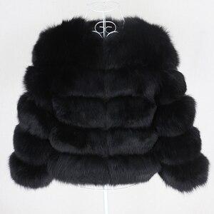 Image 5 - OFTBUY 2020 Winter Jacket Women Real Fur Coat Natural Big Fluffy Fox Fur Outerwear Streetwear Thick Warm Three Quarter Sleeve