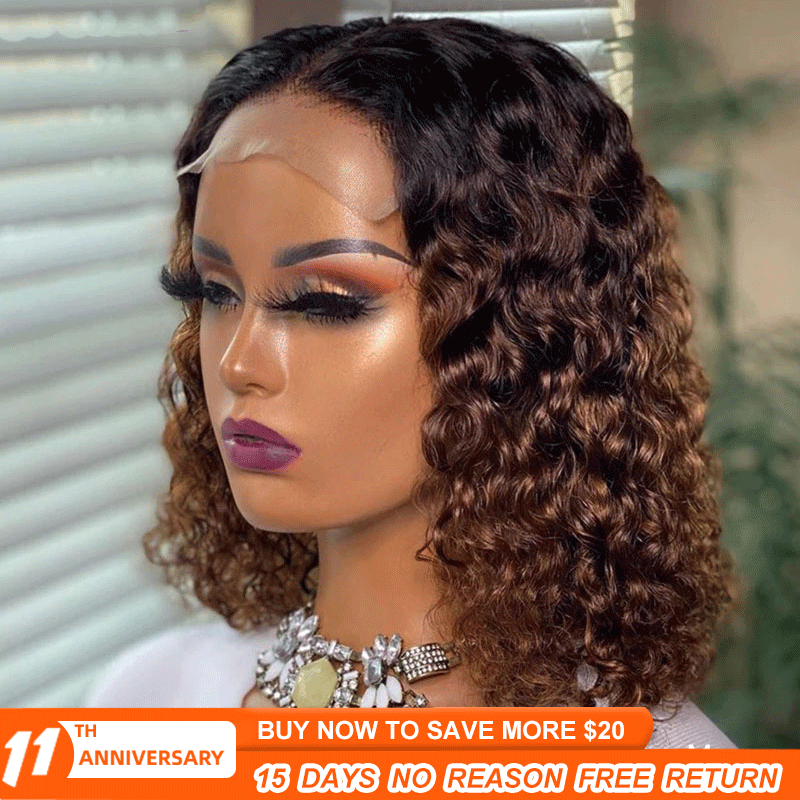 Curly Ombre Human Hair Wig Brown Pixie Cut Bob Lace Part Wigs Pre Plucked 4x4 Lace Closure Wig 150% T Part Lace Wig Remy M