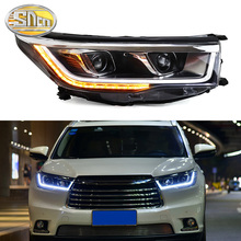 цена на Car Styling LED Headlight For Toyota Highlander 2015 - 2018 LED DRL Dynamic Turn Signal Strip Projector Lens Head Lamp Assembly
