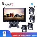 Podofo Drahtlose 4 Auto Backup Kameras Wasserdicht 18 IR Nachtsicht + 9 Zoll HD Monitor Rückansicht Monitor Für lkw/Anhänger/RV-in Fahrzeugkamera aus Kraftfahrzeuge und Motorräder bei