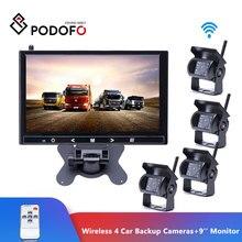 Podofo Wireless 4 Car Backup Cameras Waterproof 18 IR Night Vision + 9 Inch HD Monitor Rear View Monitor For Truck /Trailer/RV