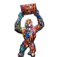 40cm Big Monkey King Kong Statue Graffiti Gorilla Sculpture Geometric FRP Modern Birthday Gift For Wedding Home Decoration R4022