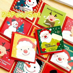 24 Pcs/lot Christmas Greeting Card Kids Mini Christmas Blessing Greeting Cards Envelope New Year Postcard Gift Card Xmas Party