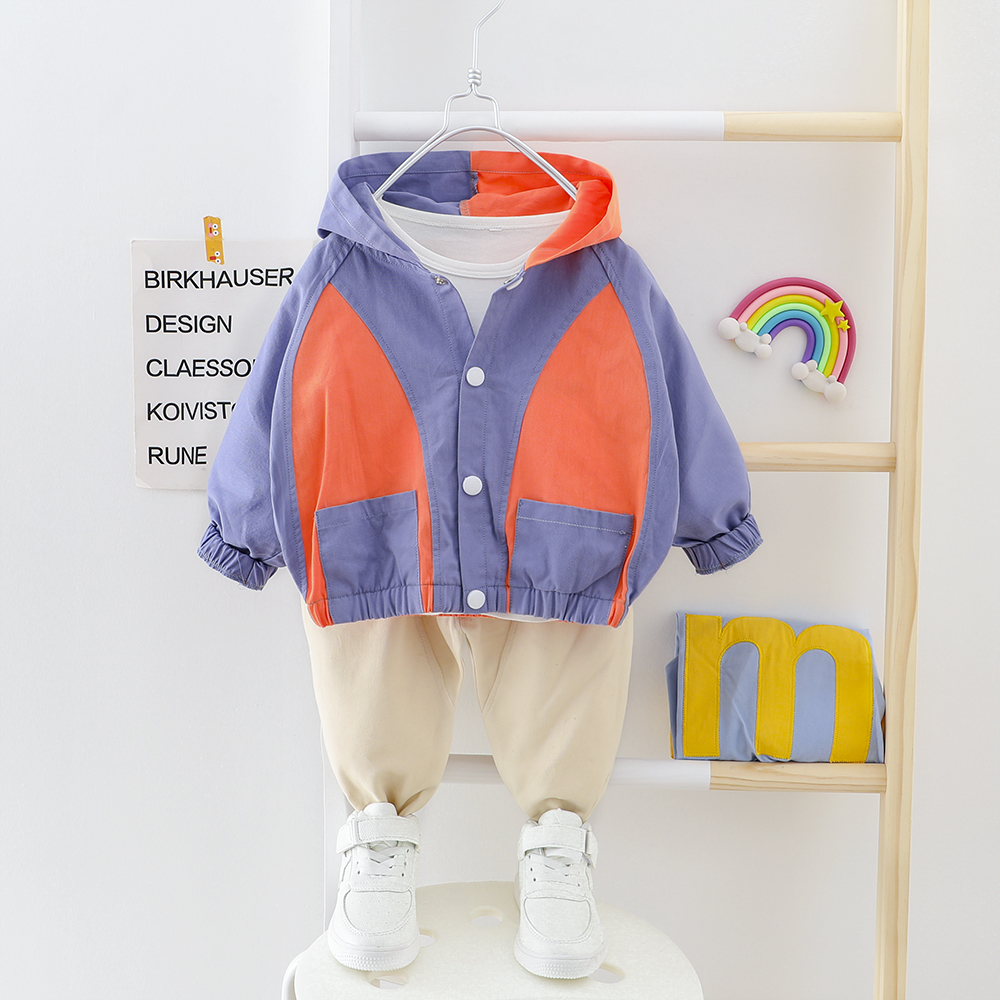 Boy Clothes Patchwork Baby Suit Hooded Cardigan Coat + Pants 2 Pieces/set Buttons Kids Outwear Clothing 2 3 4 Years