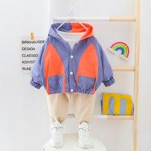 Erkek giysileri Patchwork bebek takım elbise kapüşonlu hırka ceket + pantolon 2 adet/takım düğmeler çocuklar dış giyim giyim 2 3 4 yıl