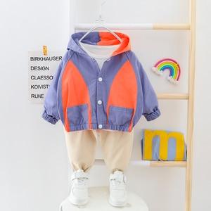 Image 1 - Vestiti del ragazzo Patchwork Vestito Del Bambino Con Cappuccio Cardigan Coat + Pants 2 pezzi/set Bottoni Bambini Outwear Abbigliamento 2 3 4 Anni