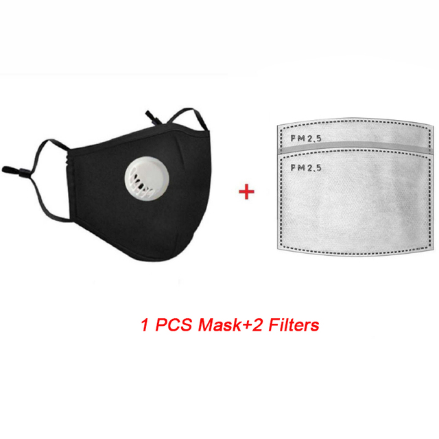 Safety Dust mouth Mask+2 Filters Cotton Breathe Reusable Washable Face Mask Anti Flu Outdoor Sports Gardening Travel PM2.5 Mask