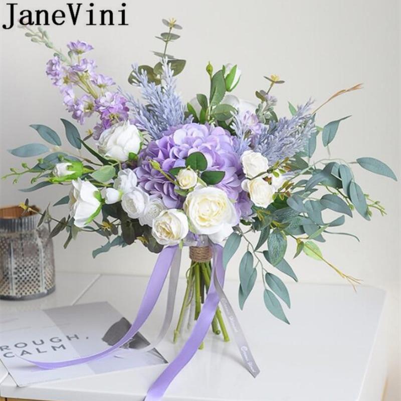 Janevini Purple Flowers Bridal Silk Flower Bouquet Artificial Rose Blue Bride Leaves Brooch Bouquet Mariage Wedding Accessories Wedding Bouquets Aliexpress