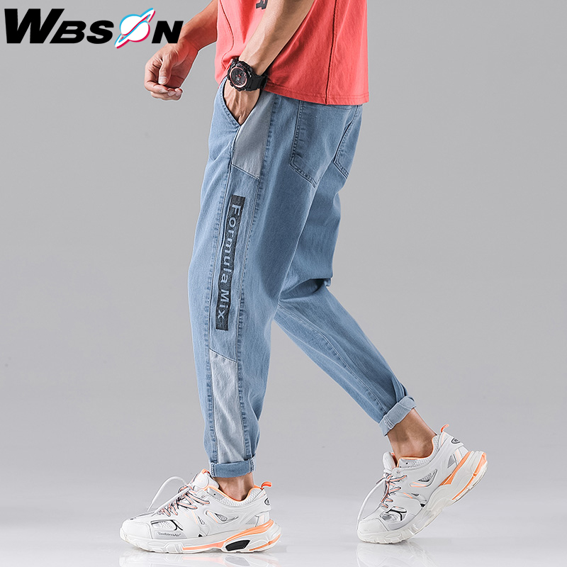 Wbson 2020 New Fashion Four Seasons Loose Men Jeans Washed Cotton Casual Light Blue Cowboy Pants Men's Fashion Jeans SYG2309