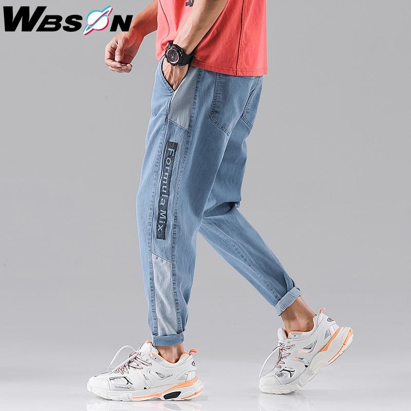 Wbson 2020 New Fashion Four Seasons Loose Men Jeans Washed Cotton Casual Light Blue Cowboy Pants Men's Fashion Jeans SYG2309