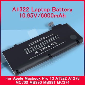 PINZHENG A1322 6 Cells Laptop Battery For Apple Macbook Pro 13 A1322 A1278 MC700 MB990 MB991 MC374 10.95V 6000mAh Laptop Battery 63 5wh 10 95v a1322 a1278 battery for apple a1322 apple macbook pro 13 2009 2010 2011 mb991ll a mb990ll a mb990j a mc700 mc724