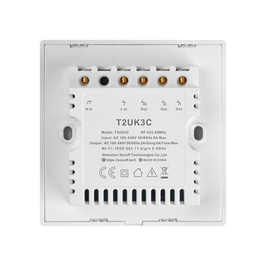 Image 5 - Nowy Sonoff T2 UK inteligentne wifi RF433/aplikacja ewelink/sterowanie dotykowe przełącznik ścienny 1/2/3 Gang, aktualizacja z Sonoff T1, dla Alexatouch control switchtouch wall light switchswitch 1 gang -