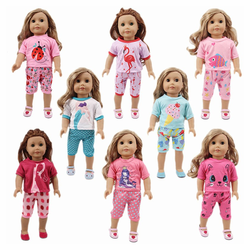 2019 new <font><b>doll</b></font> <font><b>clothes</b></font> <font><b>set</b></font>, T-shirt and pants, suitable for 18-inch American <font><b>dolls</b></font> and <font><b>43</b></font> <font><b>cm</b></font> <font><b>dolls</b></font>, the best gift for children image