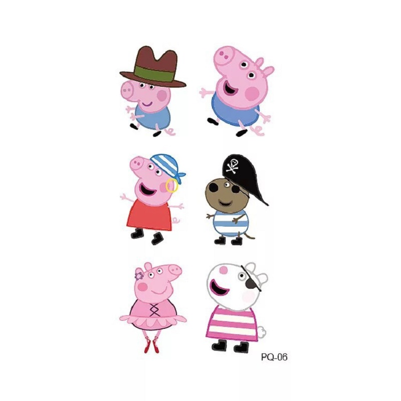 Peppa Pig  Tattoo Stickers Cartoon Toys Set George Family and Friends Waterpoof Kids Children Toys Gifts