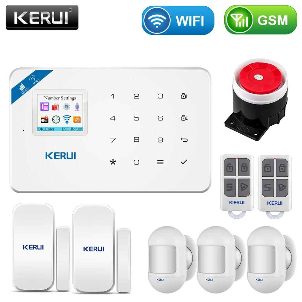 KERUI inalámbrico WIFI en casa de seguridad GSM Kit de sistema de alarma de Control APP con Dial Auto Detector de movimiento Sensor de sistema de alarma antirrobo