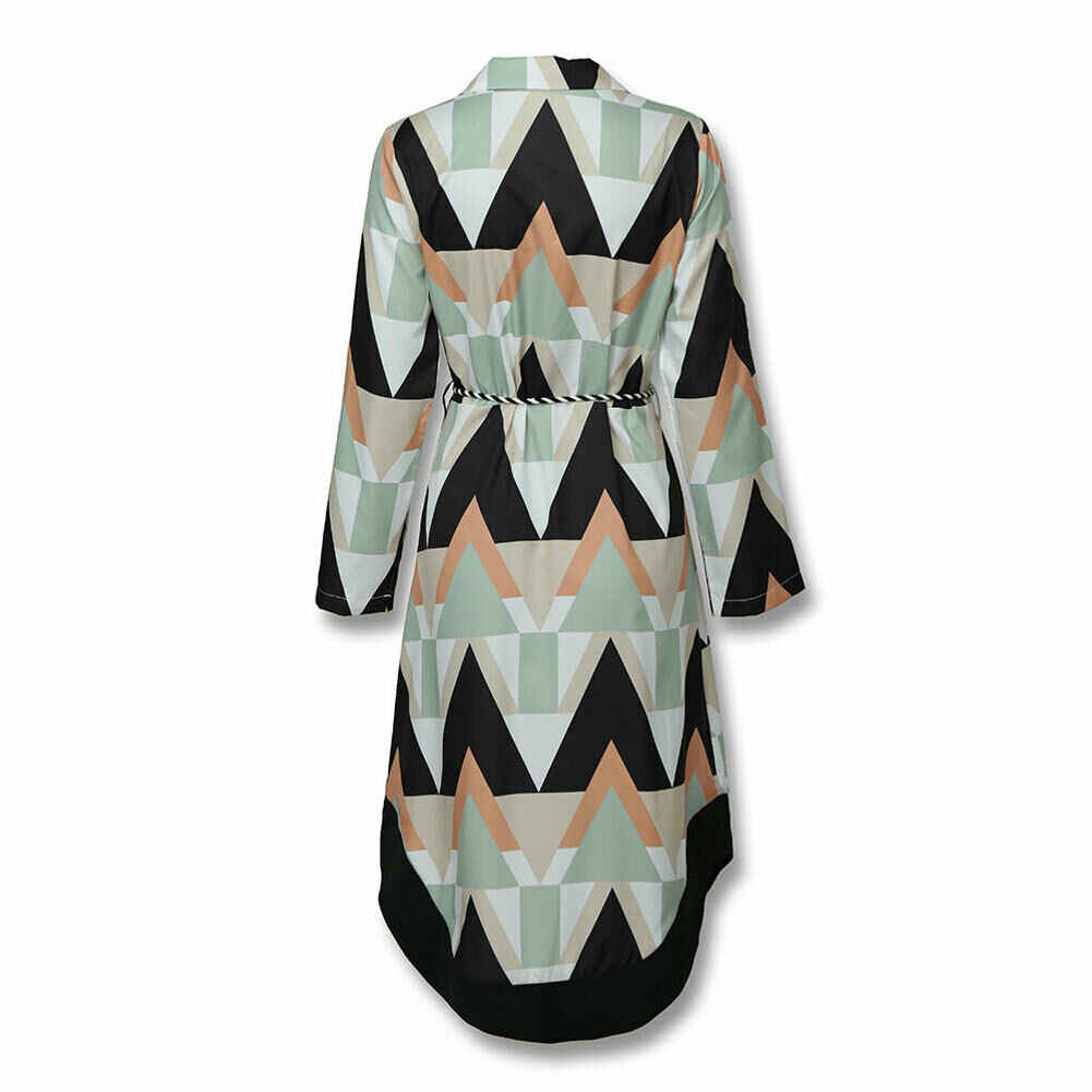 2019 femmes automne chemise robe dame vague imprimer à manches longues v-cou décontracté lâche vacances robe mi-longue grande taille
