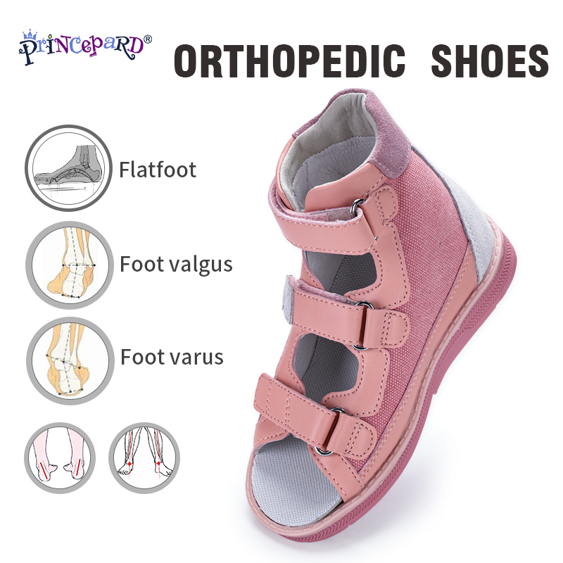 Princepard 2020 Child Orthopedic Shoes Summer Sandal Leather Princess Shoes For Girls Kids With Orthopedic Insoles Arch Support