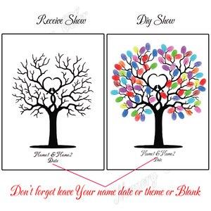 Image 2 - Livre dor de mariage personnalisé avec noms et Date, pour signe dempreinte digitale, décoration de mariage, arbre à empreintes digitales (1 2 ensembles de tampons dencre inclus)