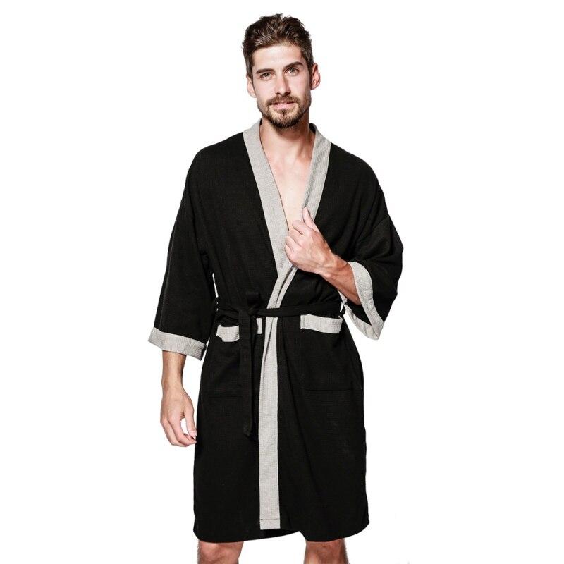 Bathrobes Men's Fashion Casual Cotton Robe V Neck Long Sleeve Lace Up Kimono Night Gown Men Warm Male Bathrobe Coat Shower Sauna