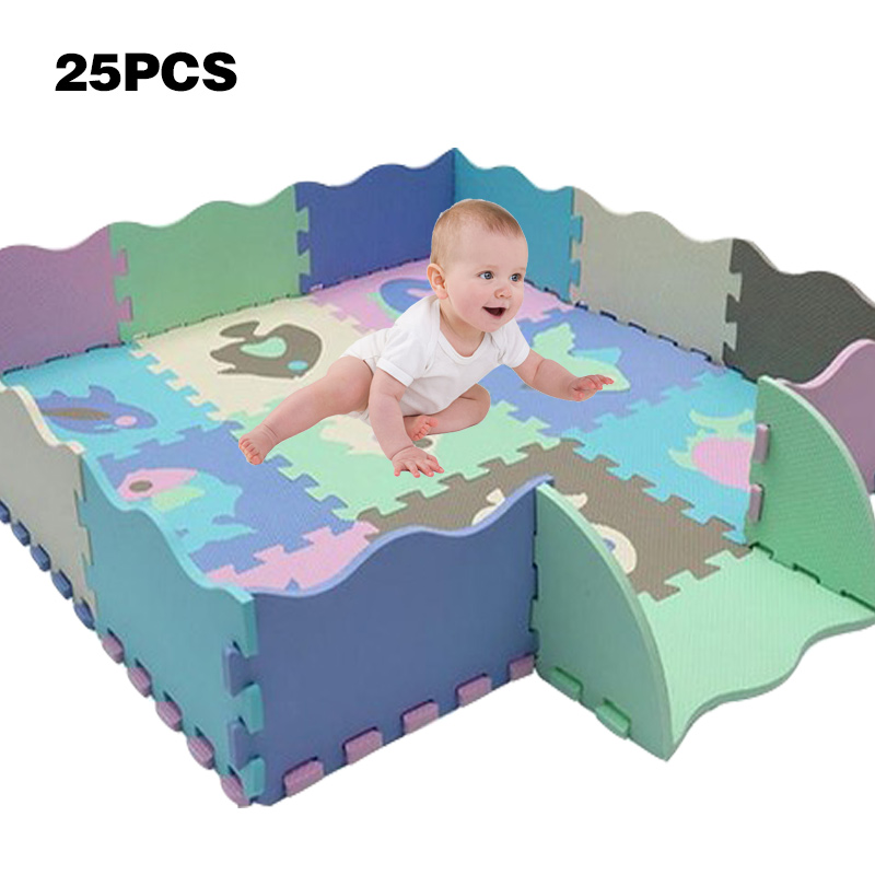 25Pcs/Set EVA Foam Puzzle Mats Kids Floor Puzzles Play Mat For Child Baby Play Gym Crawling Mat With Fence Children's Mat Toys