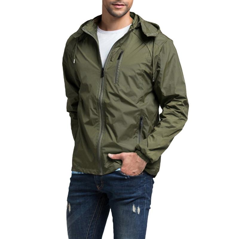 Summer Casual Jacket Men Anti-UV Windbreaker Male Hooded Waterproof Basic Streetwear Long Sleeve Clothing