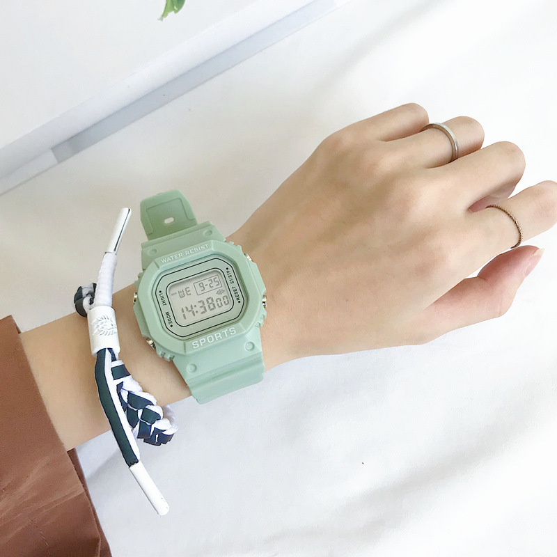 Matcha Green Women Fashion Sports Digital Watches Retro Rectangle Electronic Watch Casual Female Clock Waterproof Drop Shipping