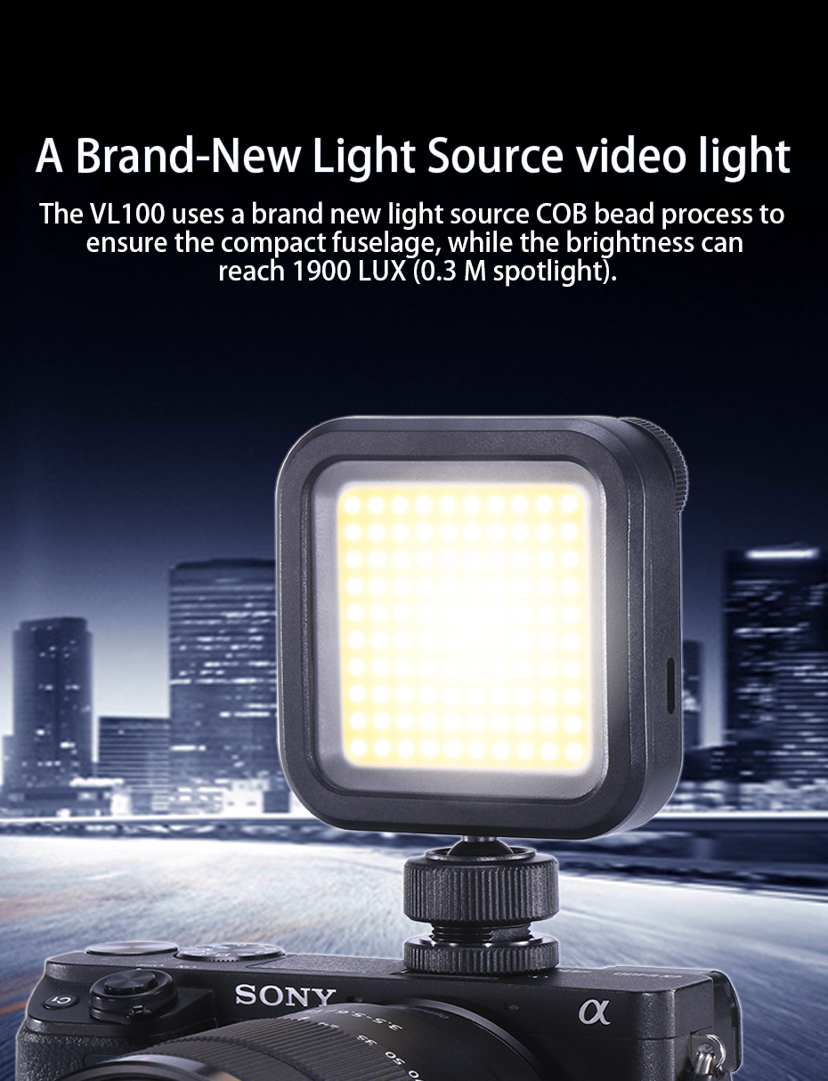 VL100 On Camera Mini Pocket Video Light Dimmable 5500K Portable Light for Youtubers 1200mAh Hot Shoe COB LED Fill Light USB-C Rechargeable w Top Cold Shoe for GoPro Vlog Microphone Mount Vloggers