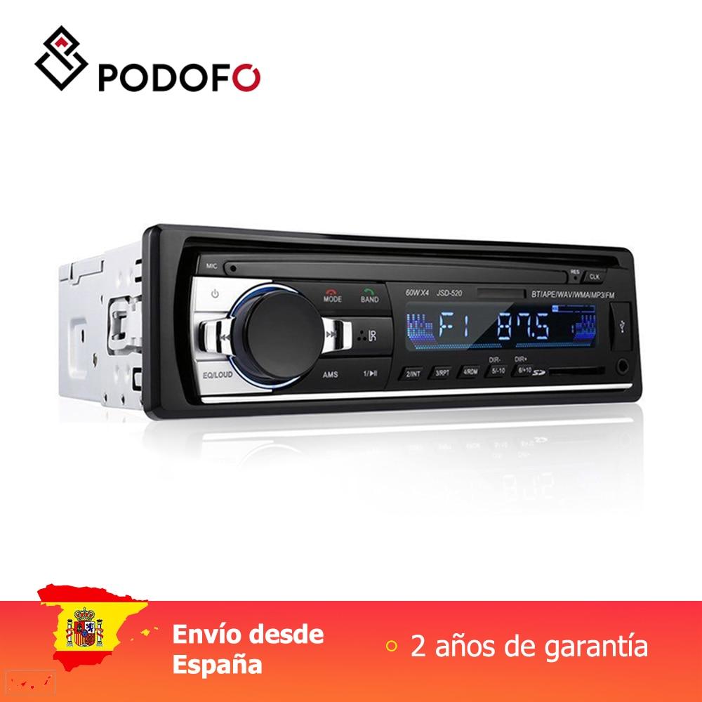 Podofo 1 autoradio stéréo Bluetooth télécommande chargeur téléphone USB/SD/AUX-IN Audio lecteur MP3 1 autoradio intégré au tableau de bord