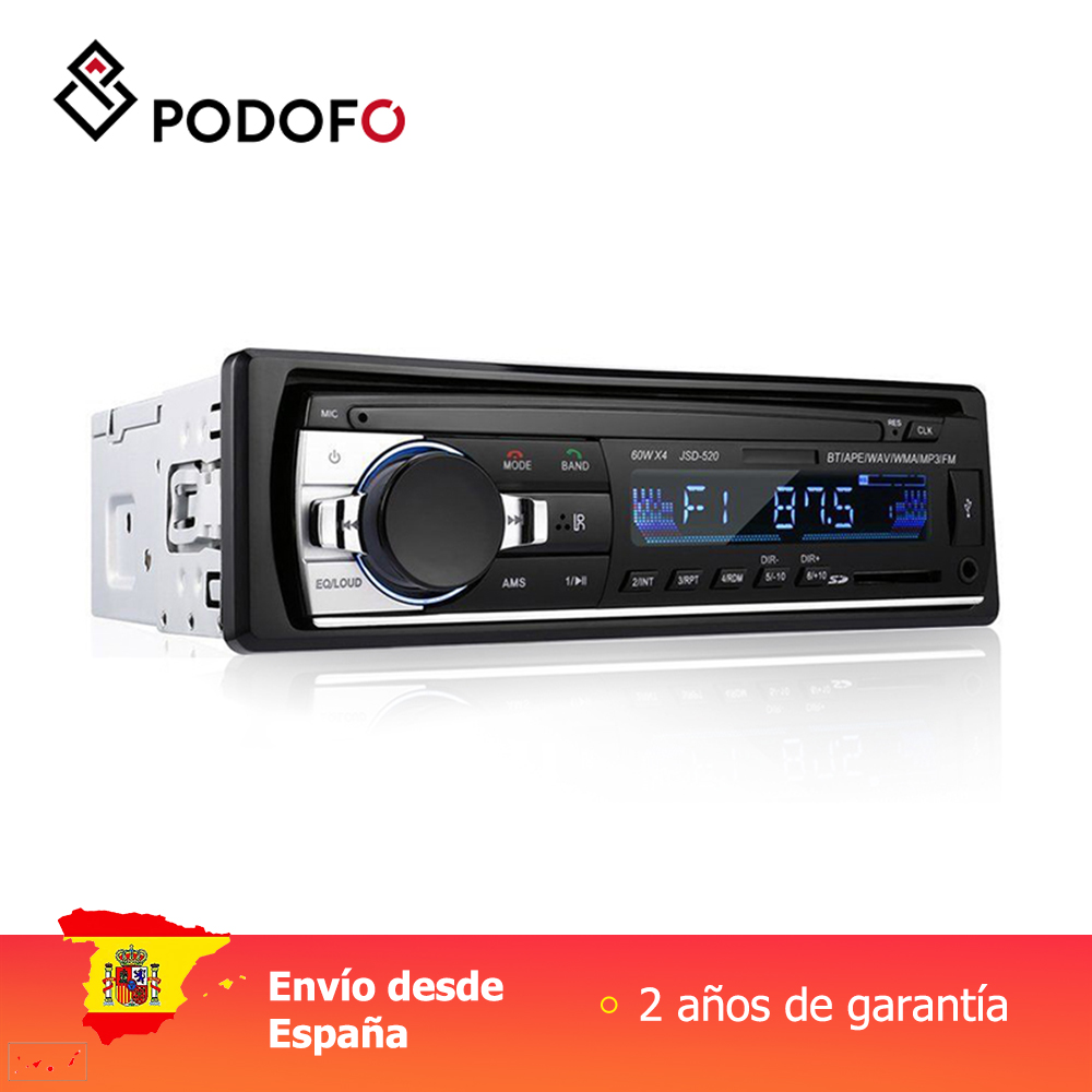 Podofo 1 din Car Radios Stereo Bluetooth Remote Control Charger phone USB/SD/AUX-IN Audio MP3 Player 1 DIN In-Dash Car Audio image