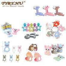 Tyry. hu 1pc silicone mordedor animal dos desenhos animados bpa livre dentição colar infantil mastigável silicone brinquedos chupeta acessórios corrente