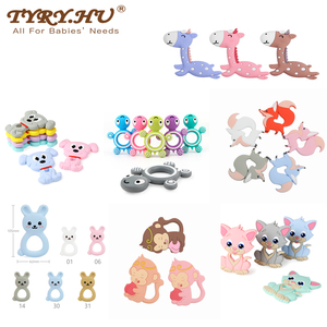 TYRY.HU Silicone Teether Cartoon Animal BPA Free Rodents Teething Necklace Food Grade Infant Chewable Toys Baby Teether