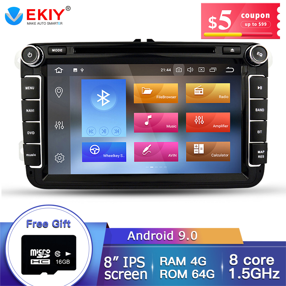 Lecteur multimédia de voiture Ekiy IPS 8 ''2Din Android 9 Auto Radio pour Skoda/Volkswagen/VW/Passat B7/POLO/GOLF 5 6 DVD GPS 4 cœurs