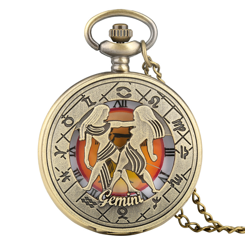 Gemini Quartz Pocket Watch Antique Bronze Pendant Clock Retro Necklace Chain Top Gifts Kids