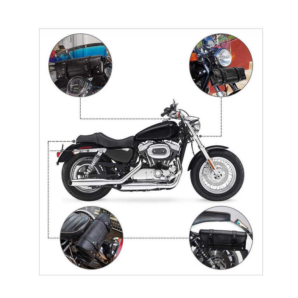Universal de cuero de la motocicleta bolsa para Tenedor delantero Carro de manillar bolsa de herramientas caja lateral bolso de la motocicleta