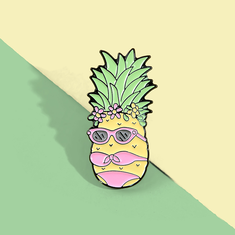 Miss Pineapple Enamel Pin Custom Bikini Fruit Brooches Bag Clothes Lapel Pin Funny Badge Holidays Summer Beach Jewelry Gift 4