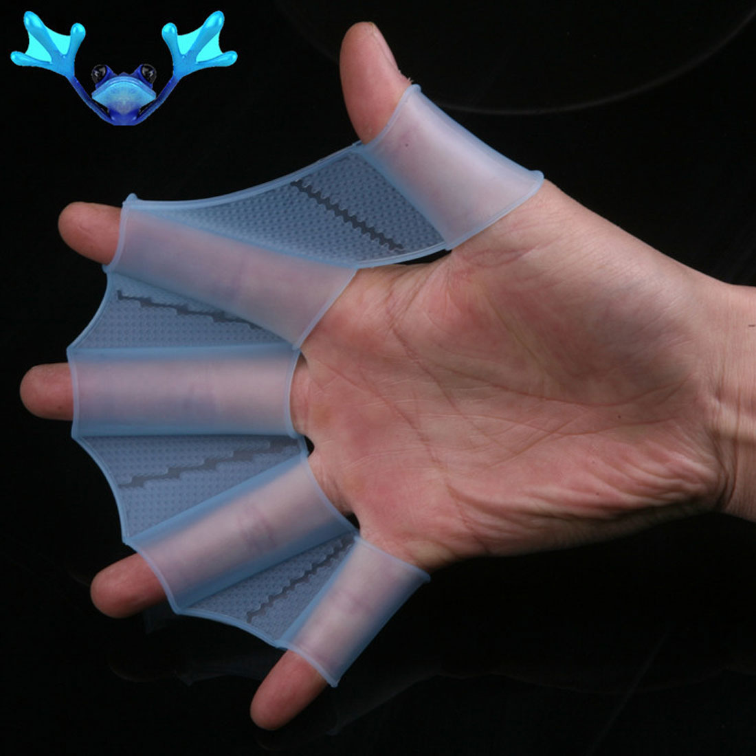 Soft Silicone Swimming Fins Flippers Frog Hand Swim Webbed Glove Multi Size Training Paddle Dive Useful 1 pair